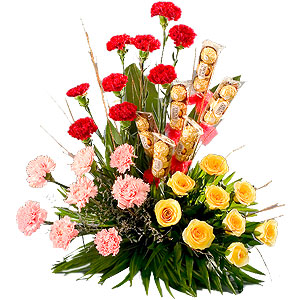 Flowers and Chocolates Arrangement (25 Flowers and 18 Ferrero Rocher)