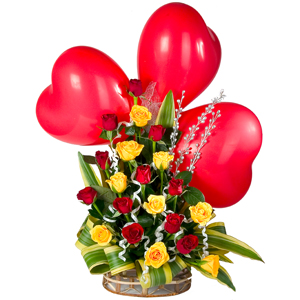 Special Arrangement with three Red Heart Shaped Balloon to Amritsar.