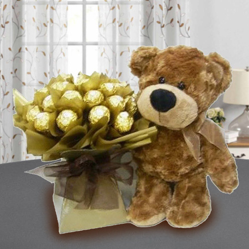 Marvelous Brown Teddy with Ferrero Rocher Chocolate
