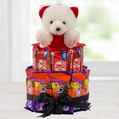 Amazing Chocolate n Teddy Arrangement
