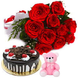 Blushing Red Roses Bouquet with Black Forest Cake & Small Teddy