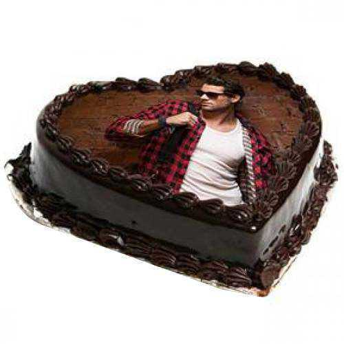 Photo Heart-Shape Chocolate Cake