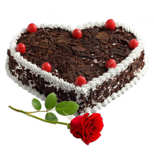 Combo of Red Rose N Heart-Shaped Black Forest Cake