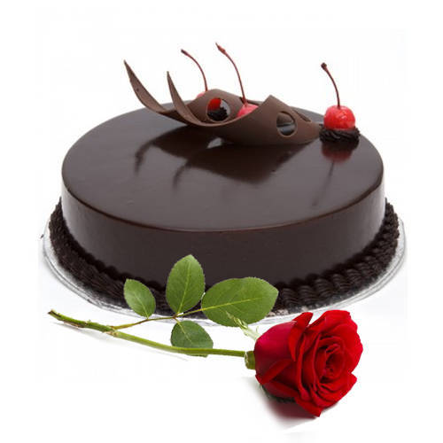 Tempting Eggless Chocolate Cake with Red Rose