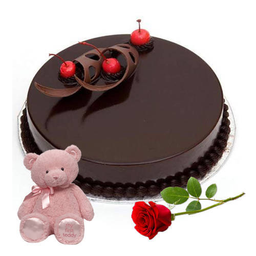 Ravishing Red Rose with Teddy N Eggless Chocolate Cake