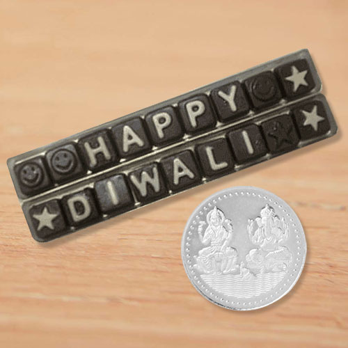 Happy Diwali Homemade Assorted Chocolates Gift Pack with free silver plated coin.