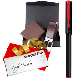 Classic Selection of Shoppers Stop Gift Voucher worth Rs.1000, Parkar Beta Pen and a Box of Wallet N Belt