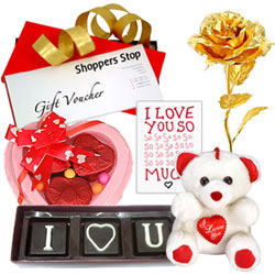 Wonderful Gift of Shoppers Stop Coupon,Chocolates and Golden Rose