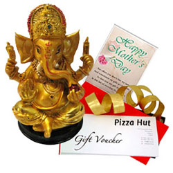 Special Design Ganesh Idol with Pizza Hut Gift Voucher N Mothers Day Card