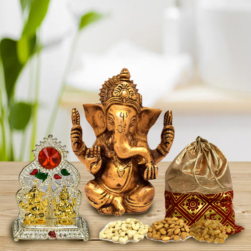 Decorative Puja Mandap with Lord Ganesha Idol and Dry Fruits