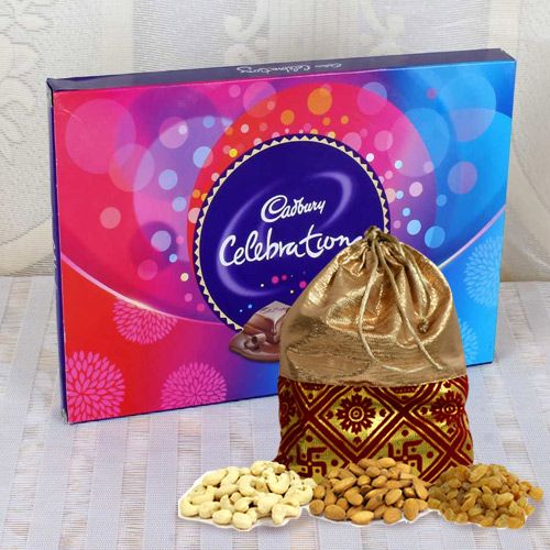Lip-smacking Treat of Cadbury Celebration Pack with Dry Fruit Assortments in Polti