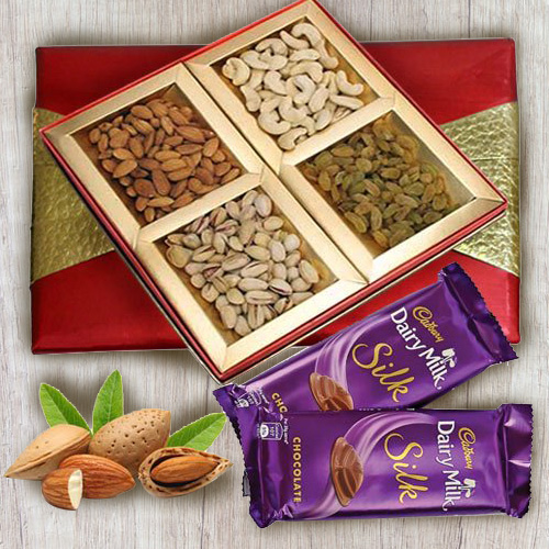 Classic Box of Mixed Dry Fruits with Cadbury Dairy Milk Silk