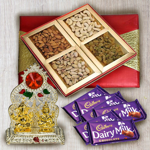 Luscious Chocolate Gift with Ganesh Mandap N Dry Fruit Gift Box