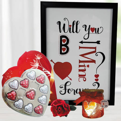 Exclusive Photo Frame with Led Lamp n Heart Chocolates