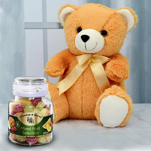 Cute Teddy with Cavendish N Harvey Mixed Fruit Selection