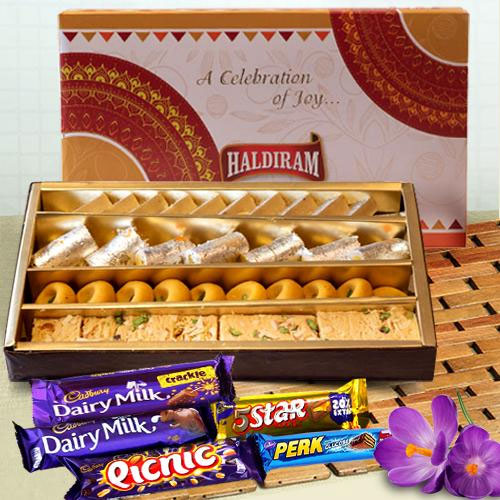 Delectable Assorted Sweets from Haldirams with Cadbury Chocolates