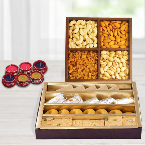 Sweets,�Dry Fruits and�Diya