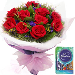 Red Rose Bouquet with Cadbury Mini Celebrations Pack