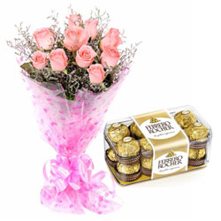 Joyous Celebration Combo of Ferrero Roacher and Pink Roses