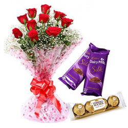 Lovely Combo of Red Rose Bouquet, Ferrero and Dairy Milk Silk