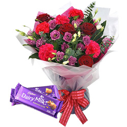 Ready to Bloom Mixed Flowers Bouquet with Cadbury Chocolates