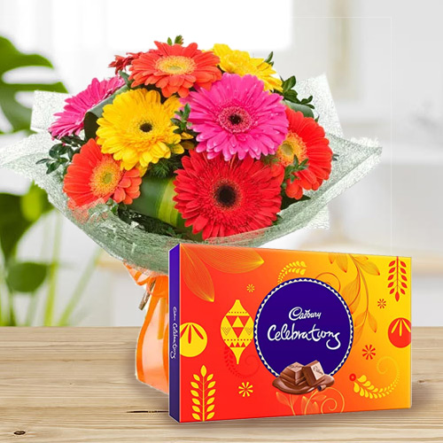 Marvelous Cadbury Celebrations with Bouquet of Mixed Gerberas