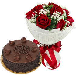 Vibrant Birth-Day Red Rose Bouquet with Chocolate Cake