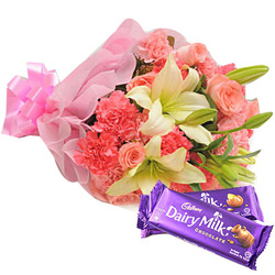 Pretty Mixed Flowers Bouquet with Cadbury
