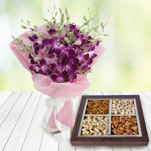 Striking Orchids Bouquet with Dry Fruits