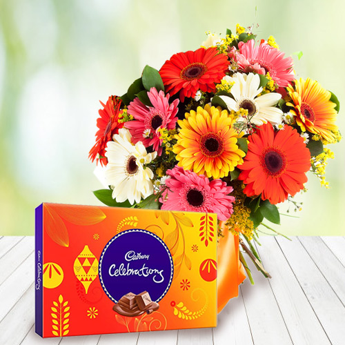 Tasty Cadbury Celebrations with Mixed Gerberas Bouquet