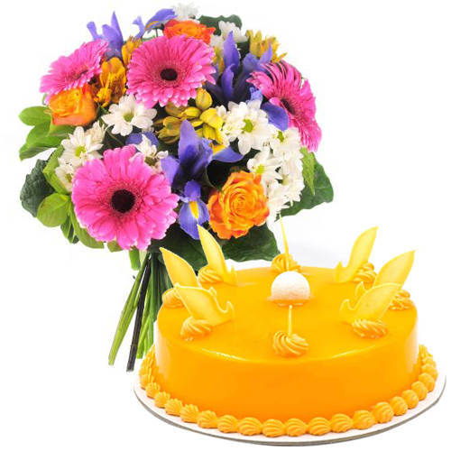 Sweet Smelling Mixed Flowers Bouquet with Mango Cake