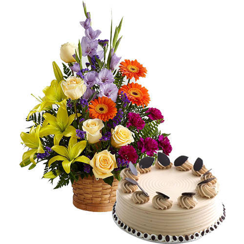 Creative Arrangement of Mixed Flowers with Coffee Cake