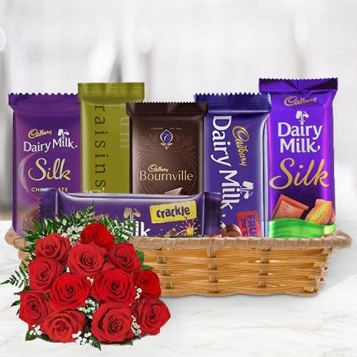 Amazing Gift Hamper of Cadbury Chocolates with Red Roses Bouquet
