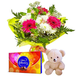 Radiant Flowers Bouquet with Teddy and Delicious Cadbury Celebration for Midnight Delivery