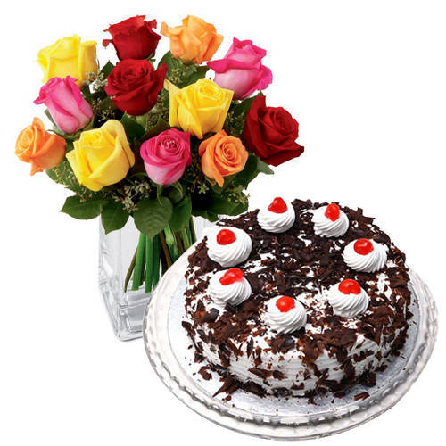 Fresh Black Forest Cake from 5 Star Bakery with Stunning Mixed Roses