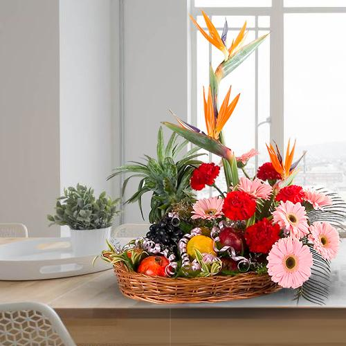 Tasty Fresh Fruits Basket with Mixed Flowers