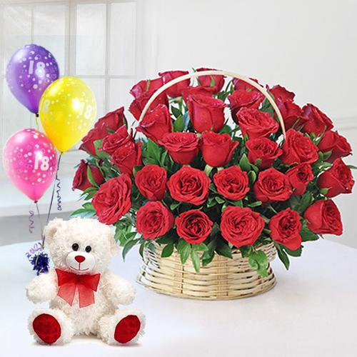 Radiant Red Roses Arrangement with Ferrero Rocher Chocolates