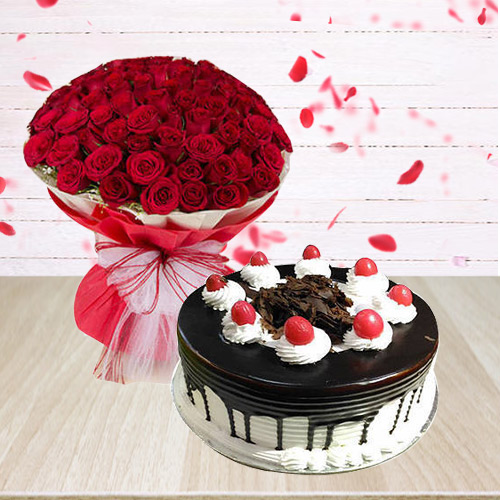 Black Forest Cake with Red Roses Combo