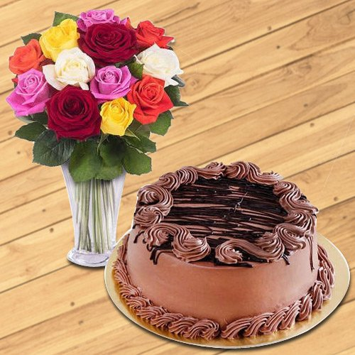 Chocolate Cake N Assorted Roses Arrangement