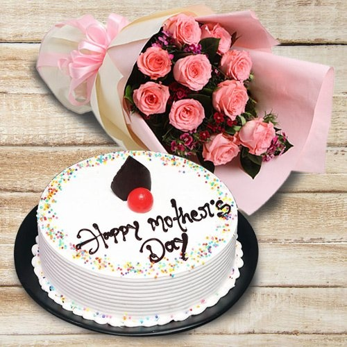 Magnificent Pink Roses Bouquet and Cake for Celebration