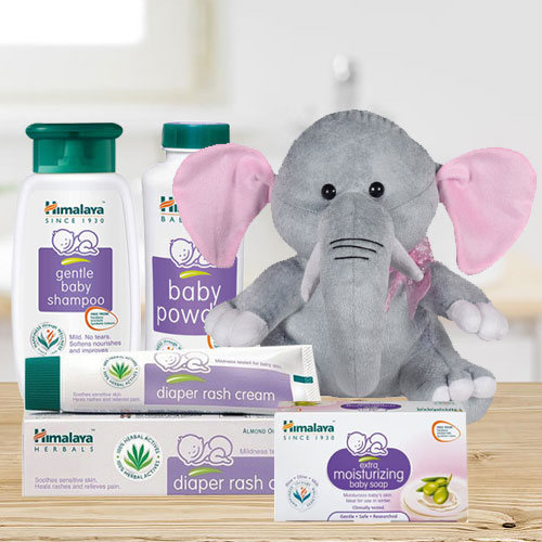 Exclusive Himalaya Baby Care Gift Hamper with Elephant Teddy