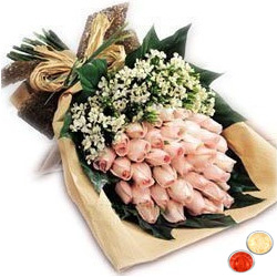 Bouquet of beautiful blushing peach or Pink Roses with free Roli Tilak and Chawal