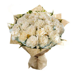 Delightful White Carnations Bunch