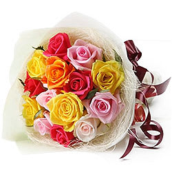 Artistic Queen of My Heart Colourful Roses Premium Bouquet