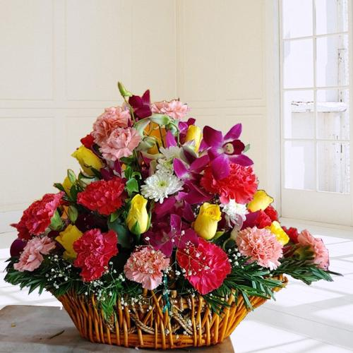 Gorgeous Assorted Floral Basket for 40th Birthday