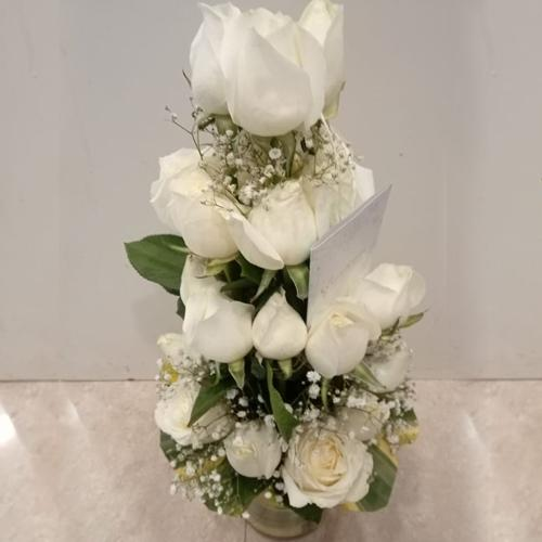 Classic Arrangement of White Roses in Glass Vase