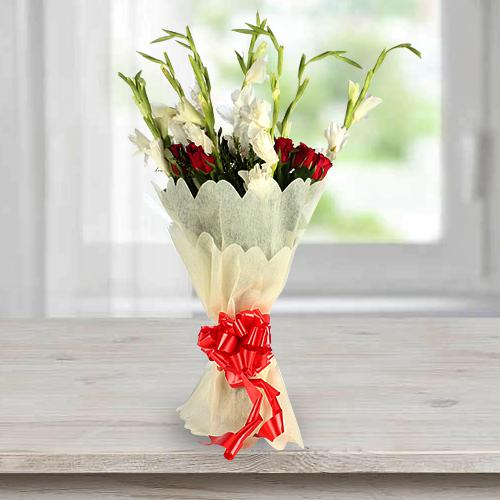 Beautiful Bouquet of Gladiolus N Roses in Tissue Wrap