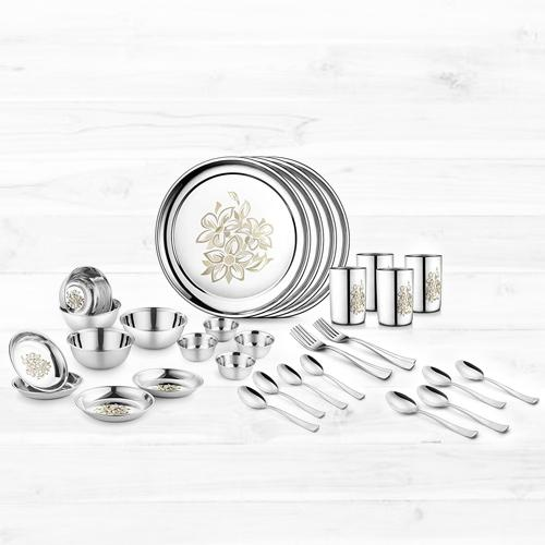 Exclusive Jensons Stainless Steel Daisy Dinner Set