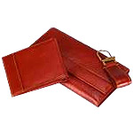 A set of Leather Gents Wallet, Leather Ladies Purse & Leather Key-ring (3 Pcs. Set)