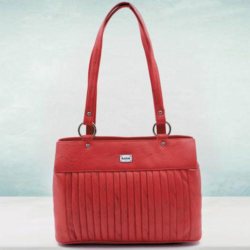 Remarkable Red Color Leather Vanity Bag for Ladies